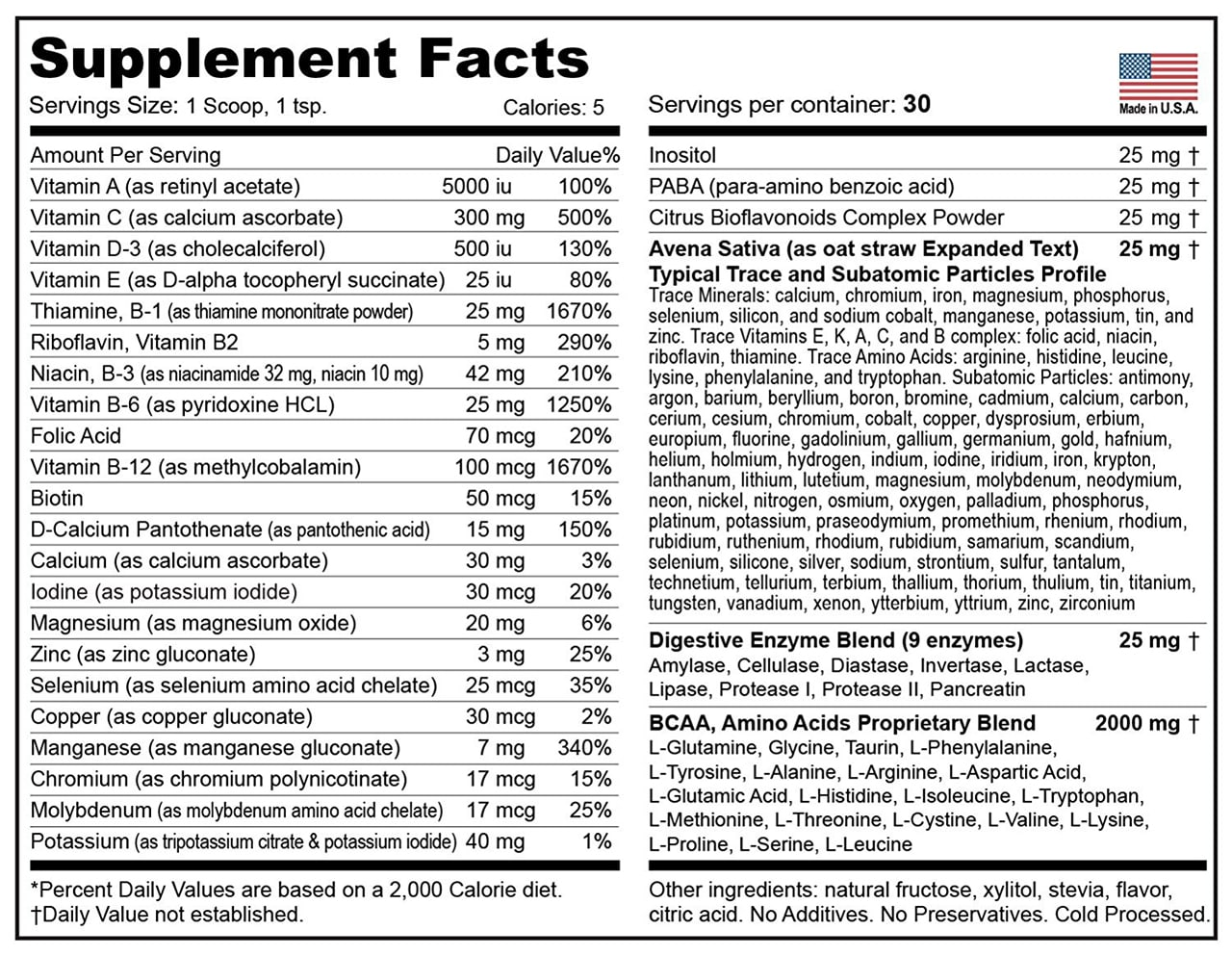 TRUFORMULA Supplement Facts